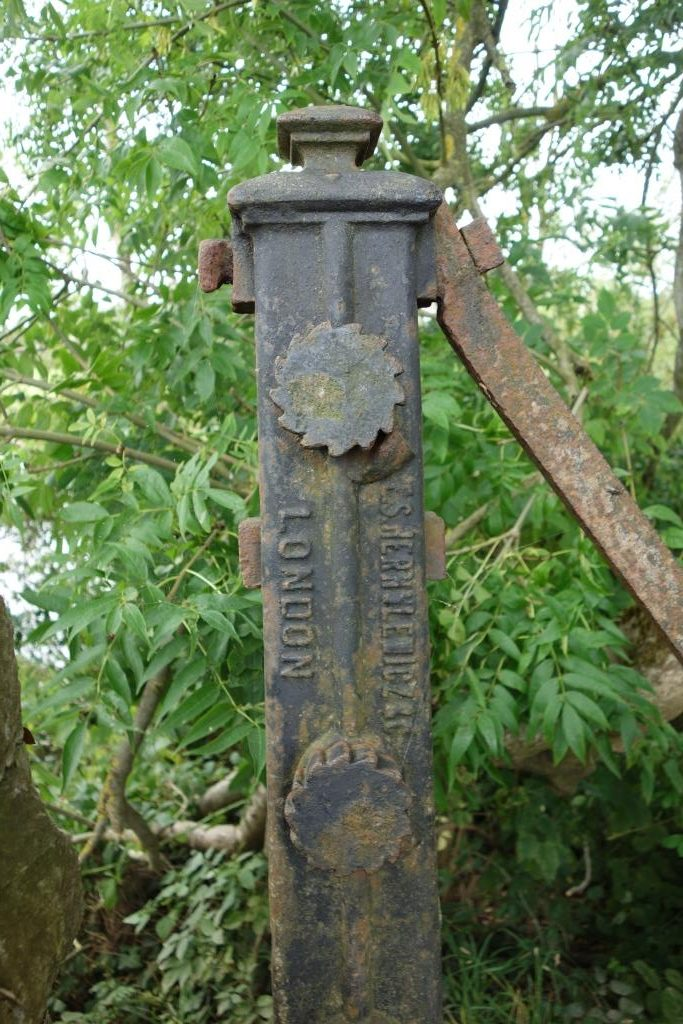 Fence straining post.