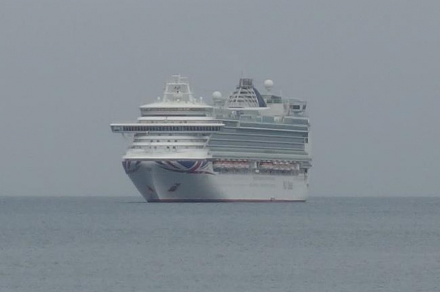 P. & O. cruise ship anchored in Babbacombe Bay.