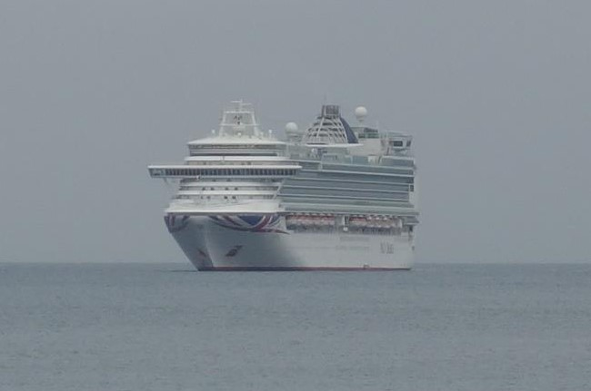 P. & O. cruise ship anchored in Babbacombe Bay.
