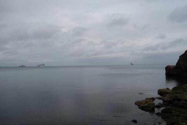 Cruise ships anchored in Babbacombe Bay.