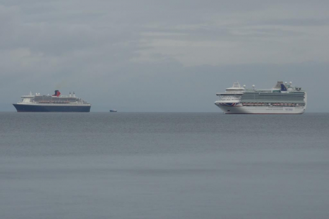 Cruise ships anchored in Babbacombe Bay.