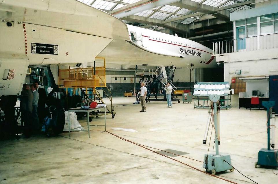 Concorde in hangar at Heathrow